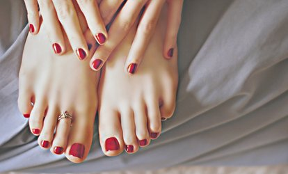 image for Manicure or Pedicure with Gel Polish, or a Mani-Pedi with Gel Polish on Hands or Feet at Enrich Beauty (Up to 69% Off)