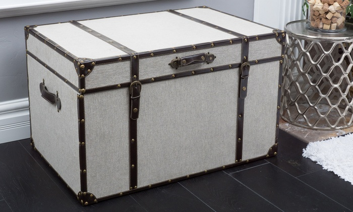 Clarkson Grey Upholstered Storage Trunk Clarkson Grey Upholstered Storage  Trunk ...