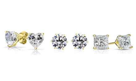 3 Pairs of Sterling Silver Crystal Studs made with Swarovski Elements