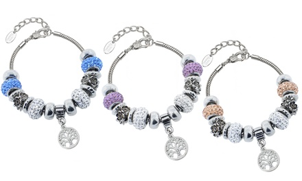 Swarovski Elements Tree of Life Murano Bead Bracelet in Stainless Steel