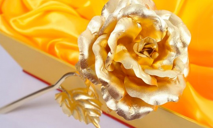 Groupon Goods Global GmbH: 24K Gold-Plated Rose for £19.99 With Free Delivery (60% Off)