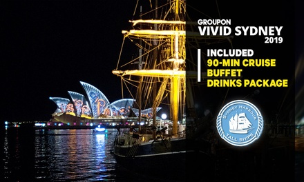 90-Min Vivid Cruise + Drinks & Buffet on Mon-Thu ($59) or Sat-Sun ($69) with Sydney Harbour Tall Ships (Up to $89 Value)