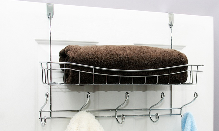 10-Hook Over-the-Door Rack with Storage Basket ... & Over-the-Door Hooks and Basket | Groupon Goods