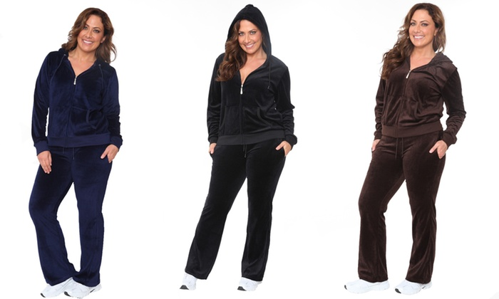 Women's Velour Outfit in Plus Sizes (2-Piece): Women's Velour Outfit in Plus Sizes (2-Piece)