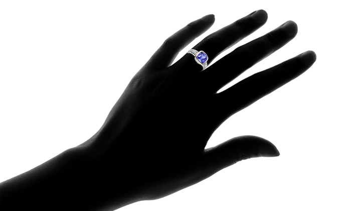 Lab Created Tanzanite Engagement Ring in 18K Gold Plating by