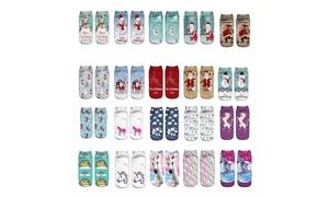 Women's Novelty Unicorn or Christmas Socks (3- or 10 Pairs)