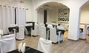 Dos Ríos: Menú para 2 con surtido de entrantes, principal, postre, botella de vino o bebida y licor desde 24,90 € en Dos Ríos
