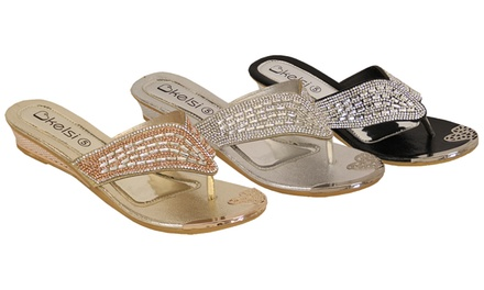 Women's Low Wedge Decorated Sandals