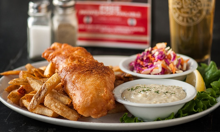 Joe Dogs Gasbar Grill - Burlington: Two Fish-n-Chips Meals or Wings and a Jug of Beer at Joe Dog's Gasbar Grill (Up to 44% Off)