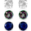 6.00 CTW Topaz and Blue Sapphire Earring Set By MUIBLU Gems (3-Pairs)