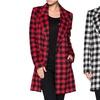 Women's Long Plaid Blazer Coat