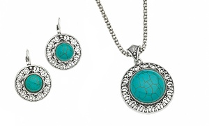 2-piece Faux Turquoise Pendant Necklace And Earrings Set