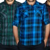 Straightfaded Men's Woven Plaid Shirts