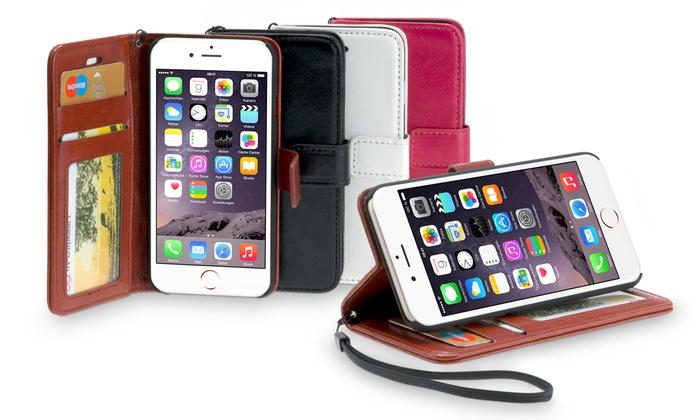 Housse portefeuille en cuir PU pour iPhone 4/5/6/6+ ou Samsung Galaxy S5/S6 coloris au choix à 599€ (70% de rduction)