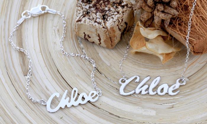 Monogram Online: $50 for a Sterling-Silver Name Necklace and Bracelet Set from Monogram Online  ($125 Value)