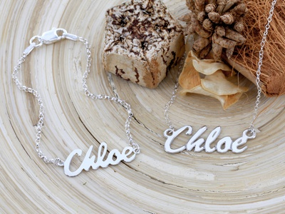 $50 for a Sterling-Silver Name Necklace and Bracelet Set from Monogram Online  ($125 Value)