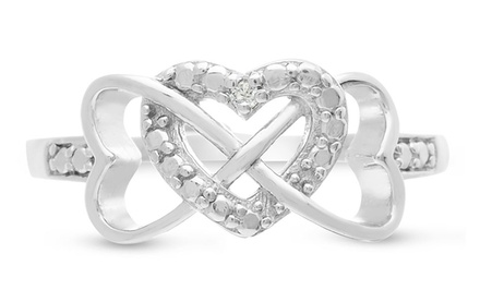 Triple Heart Diamond Accent Infinity Ring in Sterling Silver