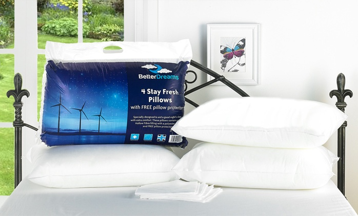 Four (£10) or Eight (£18.98) Better Dreams Stay Fresh Pillows with Protectors (Up to 62% Off)