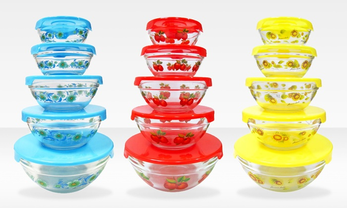 Set of 5 Glass Mixing Bowls with Lids: Set of 5 Glass Mixing Bowls with Lids. Multiple Patterns Available. Free Returns.
