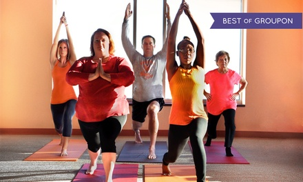 One Month of Unlimited Hot Yoga Classes or Five BarreAmped Classes at Dragonfly Hot Yoga | Barre (Up to 79% Off)