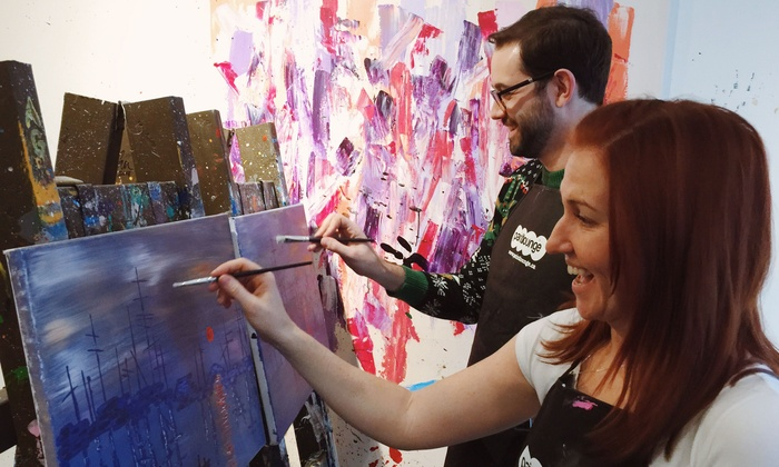 Paintlounge - Multiple Locations: Social Painting Workshop and Café Drink at Paintlounge (Up to 48% Off)