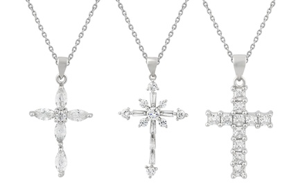 Cubic Zirconia Cross Necklace in Sterling Silver