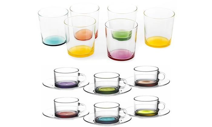 6 bicchieri o 6 tazze colorate groupon goods for Bicchieri colorati vetro