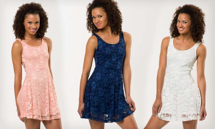 f724d3ca6aaa2 $22.99 for a Poof! Apparel Lace Skater Dress ($49 List Price). 4 Colors  Available. Free Shipping and Returns.