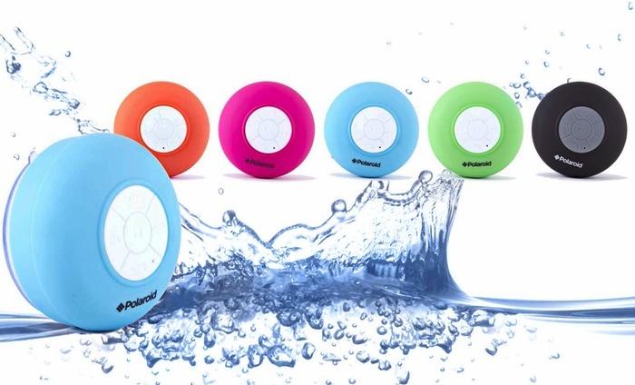 Polaroid Waterproof Bluetooth Shower Speaker: Polaroid Waterproof Bluetooth Shower Speaker with Microphone.