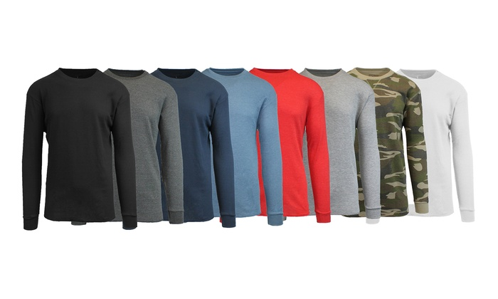 Men's Long Sleeve Crew Neck Waffle Knit Thermal Shirt
