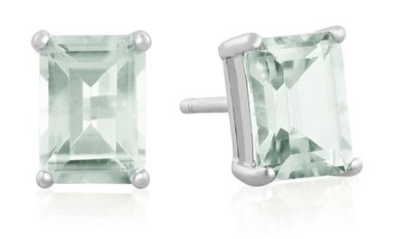 2.50 CTTW Emerald-Cut Mint-Green Amethyst Stud Earrings in Sterling Silver