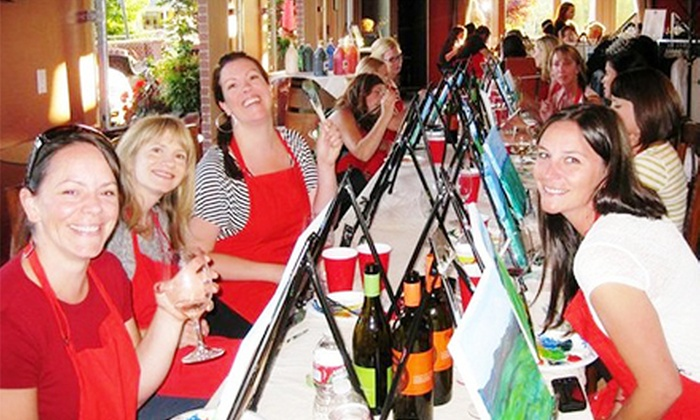 Corks and Canvas Events - Multiple Locations: $26.50 for a Painting Class with a Glass of Wine from Corks and Canvas Events ($45 Value)
