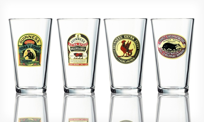 Set of 8 Guinness Pint Glasses: Set of 8 Vintage-Inspired Guinness Pint Glasses