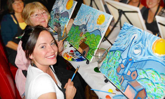 Wine and Canvas - Multiple Locations: Painting Class for One or Two from Wine and Canvas (Up to 51% Off)