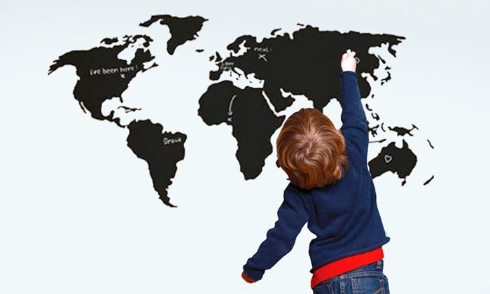 Muursticker Wereldkaart Krijt.Zelfklevend Krijtbord Groupon Goods