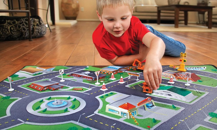 kids play mat with cars groupon goods. Black Bedroom Furniture Sets. Home Design Ideas