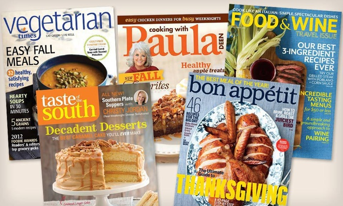 "Cooking Magazine Subscriptions: Cooking Magazine Subscriptions Such as ""Bon Appétit"" or ""Food & Wine"" (Up to Half Off). Six Options Available."