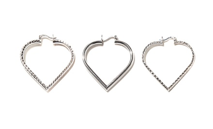 Heart Hoop Earrings in Sterling Silver from $19.99-$27.99