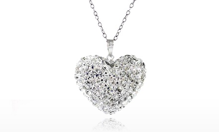Swarovski Elements Bubble Heart Pendant in Sterling Silver