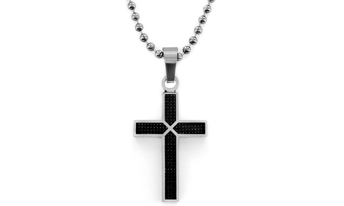 Men's Black Carbon Fiber and Stainless Steel Cross Pendant: Men's Black Carbon Fiber and Stainless Steel Cross Pendant. Free Returns.