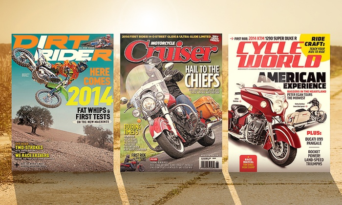 1-Year Motorcycle-Magazine Subscription: 1-Year Motorcycle-Magazine Subscription. Multiple Titles Available from $5–$7.99.