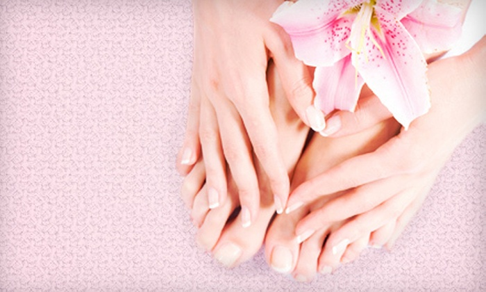 Tina'n Nail and Spa - Woods Park: Deluxe Shellac Manicure or Tropical Spa Pedicure at Tina'n Nail and Spa (Up to 55% Off )