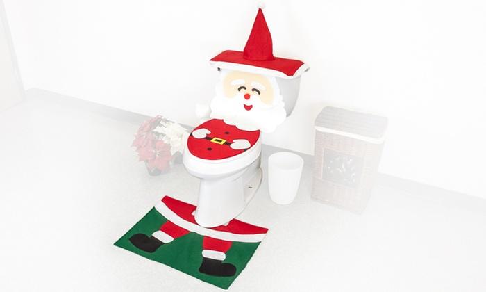 Santa Decorative Toilet Set Groupon Goods
