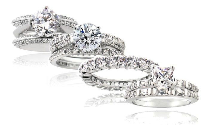 CZ and Sterling Silver Engagement Rings, Wedding Bands, or Bridal Sets: CZ and Sterling Silver Engagement Rings, Wedding Bands, or Bridal Sets. Multiple Styles. Free Shipping and Returns.