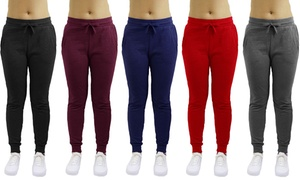 Galaxy By Harvic Women's Loose Fit Fleece Jogger Sweatpants (2-Pack)