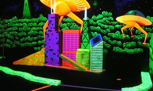 Space Golf: 18 Holes of Black-Light Mini Golf with 3-D Glasses for Two or Four at Space Golf