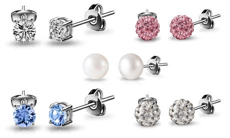 1 o 5 pares de pendientes con cristales Swarovski®, Perla de Agua Dulce o Cristales de Shamballa