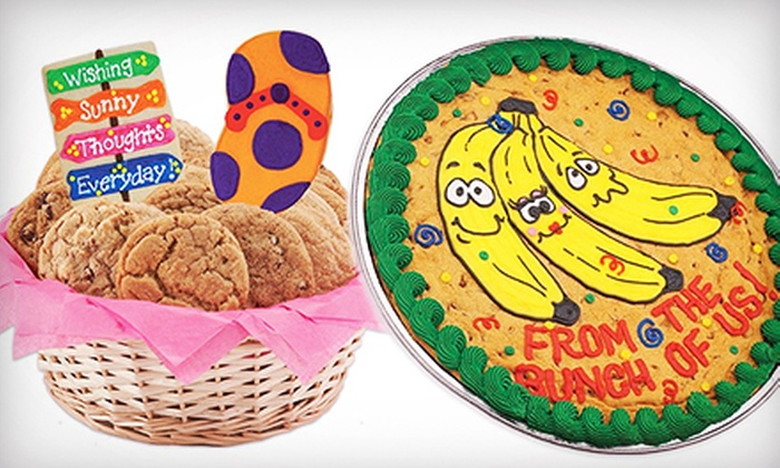 Cookies by Design - Multiple Locations: $18 for Wicker Cookie Basket or Cookie Cake at Cookies by Design (Up to $45.99 Value)
