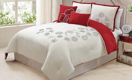 5-Piece Athena 100% Cotton Embroidered Comforter Sets