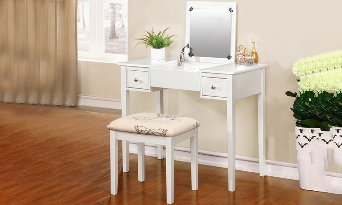 Vanity Table With Butterfly Print Bench ...